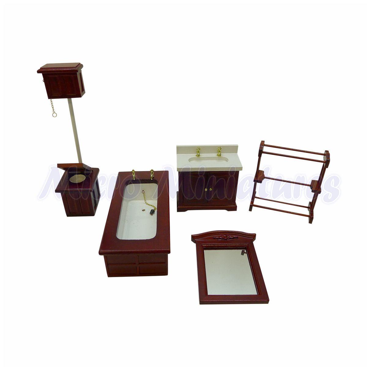 Mahogany Dolls House Bathroom Set 1/12th Scale - Micro Miniatures